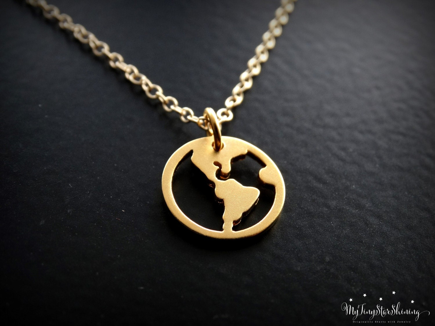 World Map Necklace 24k Gold Vermeil Travel Necklace Gold Globe