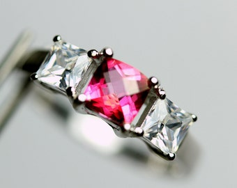 Pretty Genuine Hot Pink Topaz in a Pretty Accented Sterling Silver Setting
