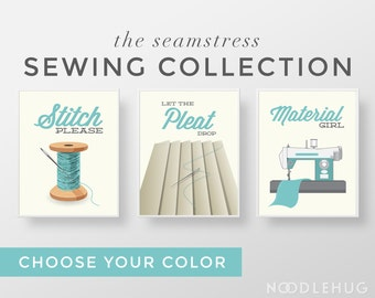 Funny Sewing Print Set - Set of 3 Poster Prints - craft room sew crafters thread needle aqua teal grey retro mid century modern gift pun art