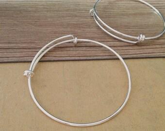 2pcs  silver color scalable (copper)   bracelet accessories 62mm