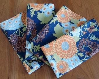 Cotton Napkins (4) in Blue, Orange and Olive Green, Flower Napkins, Joel Dewberry Botanique Bold Bouquet