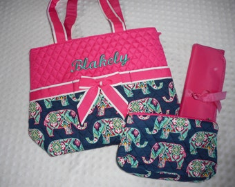 Pink Paisley Elephant 3 Piece Personalized Diaper Bag Set - Baby Girl Pink Personalized Diaper Bag Set Embroidered with Name - Pink Navy
