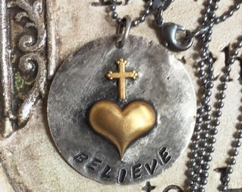 "Believe Love Soldered raw brass heart and Cross Pendant Necklace on 26"" Sterling silver Ball Chain NECKLACE"