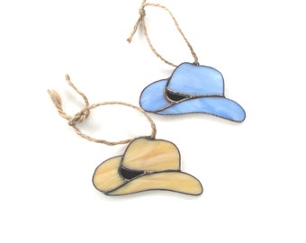 Stained Glass Cowboy Hat Ornaments or Suncatchers