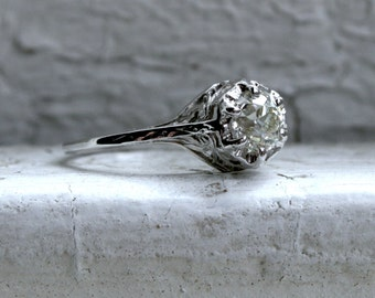 Ornate Antique 18K White Gold Diamond Solitaire Engagement Ring - 0.65ct.