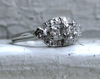 Pretty Art Deco Platinum Diamond Ring Engagement Ring - 0.75ct.