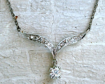 RESERVED - Elegant Vintage 14K White Gold Diamond Wing Necklace with Diamond Drop.