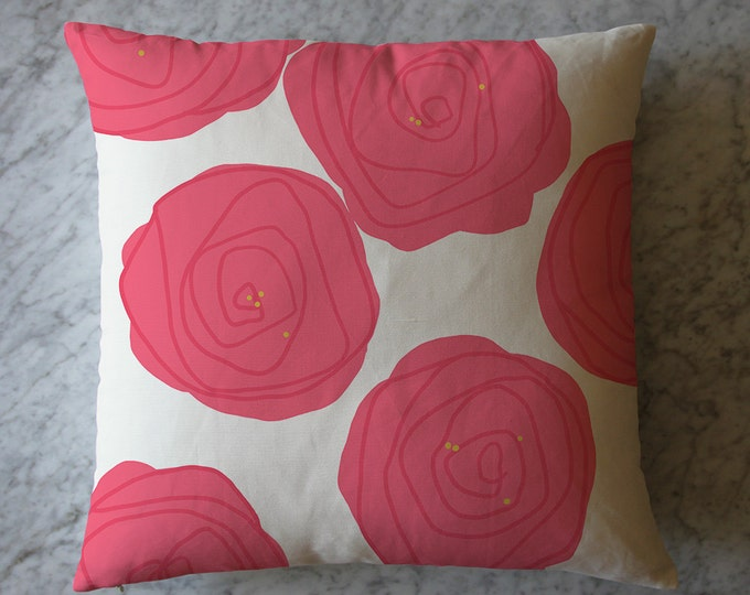 Pillow with Big Pink Flowers.  March 15, 2016