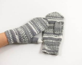Knitted Mittens - Gray and White, Size Medium