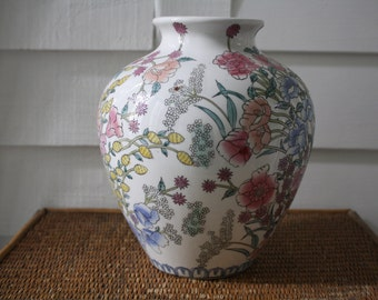 large floral vase, Chinoiserie vase, Chinese vase, spring