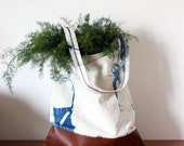 Minimal shibori  bag, Indigo dye with folded pattern,natural vegetable dye shopper, canvas and vegan leather bag.Ready to ship