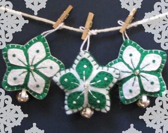 Handmade Green Felt Snowflake Star Christmas Ornament Set - Set of 4