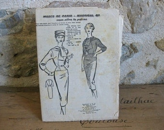 1950s dress pattern Modes de Paris - Madrigal 411 for tailored dress with tie neckline