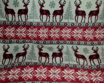 Red Nordic Reindeer Fleece Tie Blanket