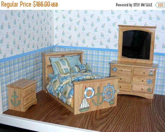 10% OFF SHIPS AHOY Nautical Dollhouse Miniature - Hand-Painted 3pc Bedroom Bed Set 1:12