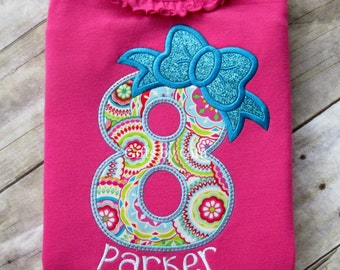 birthday number with glittery bow shirt for girls, numbers 1-9, birthday shirt for girls, custom fabric and name