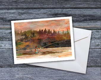 Fly Fishing  - Dawn on the River Greeting Card