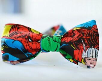 Marvel Bow tie-Bespoke necktie-Comic book, nerd, geek, Avengers