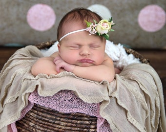 FREE U.S. SHIPPING, Headband, Ready to Ship, 0 to 6 Month, Photo Prop, Rose, Ivory, Pink