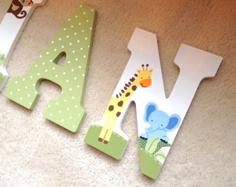 Hand painted Jungle theme wall letters -- coordinates with Lambs and Ivy Bedtime Originals Jungle Buddies