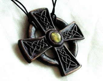Celtic cross Hand carved wooden pendant