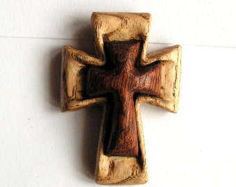 Wooden cross Simple hand carved pendant