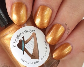 Gelty Pleasure (Full size 15ml) metallic gold shimmer indie polish by Fedoraharp Lacquer