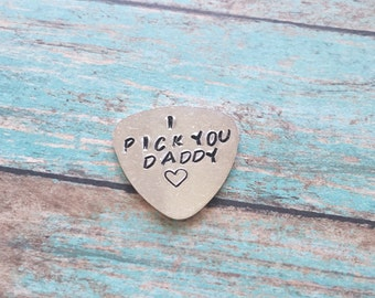 Guitar pick// hand stamped//aluminum// plucking love you