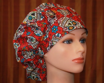 BOUFFANT Surgical Scrub Hat/Chef Hat--Red Skulls