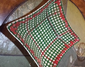 Green & Red Bubble Plaid Bowl