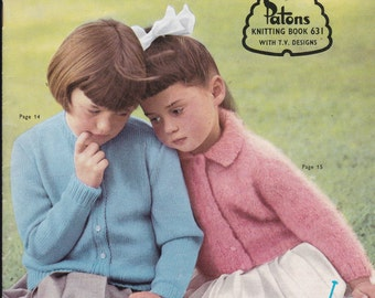 Paton's Knitting Pattern No 631 For Children Boys and Girls (Vintage 1960s)  Jackets, Cardigans, Jumpers, Sweaters