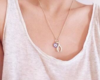 ON SALE Zirconoa Crystal Evil eye with Wishbone gold necklace