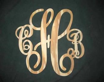 Custom 3 Initial Monogram Wood Sign Plaque Wall Decor