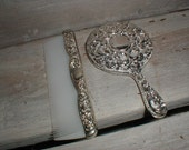 Miniature Silver Plate Mirror & Comb *Sweet Victorian Vanity Table Accessory*
