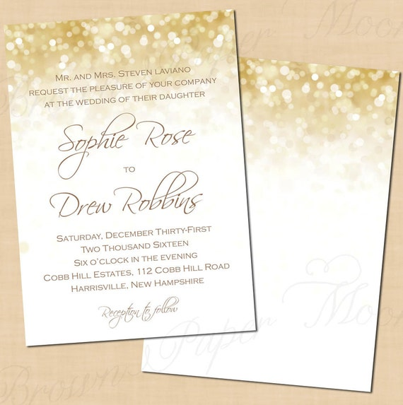 white gold sparkles wedding invitation and rsvp package portrait text editable in microsoft word printable instant download - Gold And White Wedding Invitations