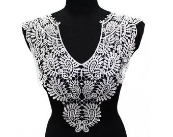 White Long Venice Lace Crochet Yoke Necklace Collar Applique, bridal dress collar.