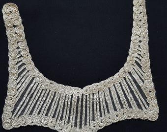 Gold Shimmer Bodice Necklace Collar, Sewing Neck Applique, Yoke Collar
