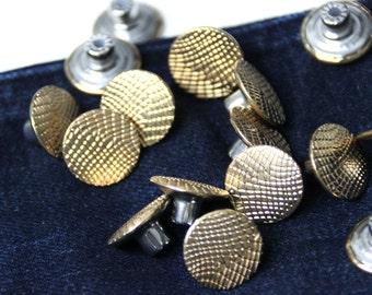 10 pcs Gold Round Rivets Buttons Studs Denim Hammer On Rivets