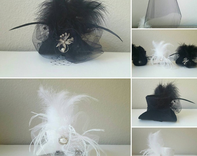 White/black MINI-TOP HAT with bridal veil piece, wedding top hat, bachelorette party, White Top Hat, Women Mini Top Hat, Women Fascinator
