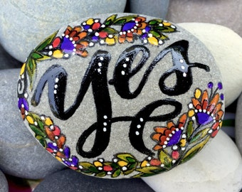 say yes / painted stones / painted rocks / paperweights / words on stone / rock art / cape  cod / sea stones / boho art / beach house decor