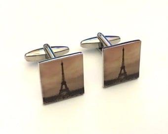 Eiffel Tower Cufflinks, Paris Cuff Links, French Cufflinks, Wedding Cuff Links, Father's Day Cuff Links, Graduation Gift