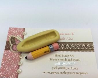School pencil flexible silicone mold ,resin ,decoden cupcake topper ,school supplies.