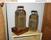 25% OFF Pair (2) Marine Brass Ship or Boat Light, Rail Road Lanterns,  Antique Nautical Vintage Cage Lamp