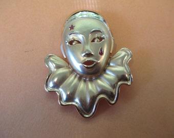 Vintage mardi gras clown mask gold tone metal backing no markings