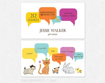 pet services DELUXE business cards - full color both sides - FREE UPS ground shipping