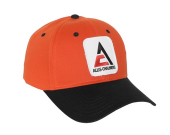 Allis Chalmers Tractor Logo hat, new style logo, orange hat with black brim