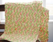 CUSTOM LISTING for stlachac yellow orange and lime chunky sherbet crochet baby/toddler afghan/blanket