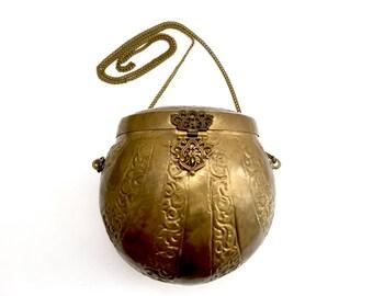 Vintage Repousse Brass Metal Purse India
