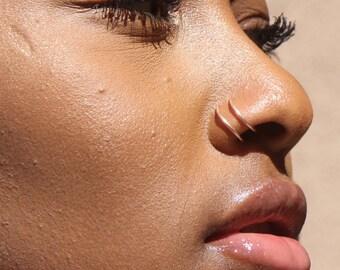Double Gold  Nose Ring - Gold Ear Lip- Gold  Cuff Piercing - Gold Tribal Thin Fake Nose Lip  Ear Ring -  Fake Piercing Rose Gold Fake