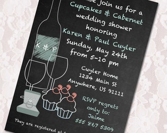 Cupcakes & Cabernet Wedding Shower Invite with Thank You Card